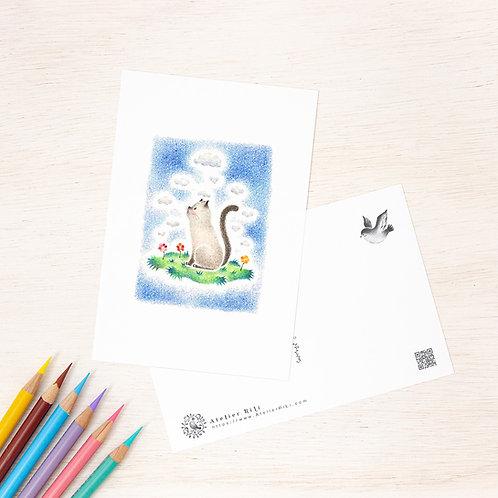 """ポストカード """"猫の子メロの好奇心"""" PC-142"""