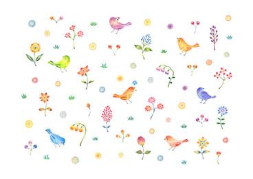 花咲く庭の小鳥たち