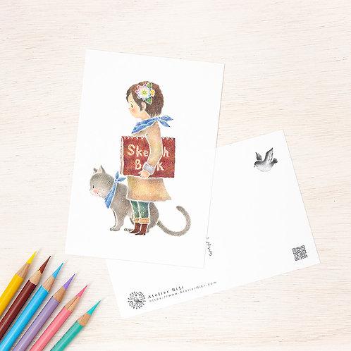 """ポストカード """"ミクルと猫のモモ"""" PC-417"""
