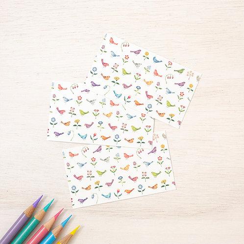 """メッセージカード """"色とりどりの鳥たちと花"""" MC-98"""