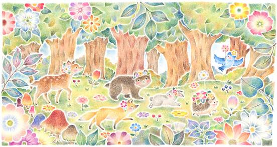 みんなでおさんぽ、花咲く森で