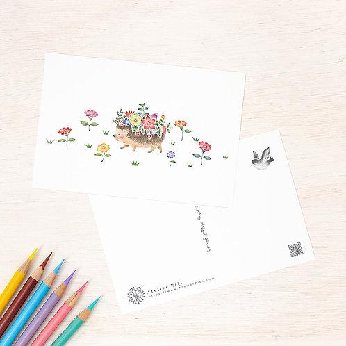 """ポストカード """"花を飾ったはりねずみのマリ"""" PC-253"""
