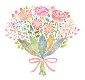 赤桃色の花束