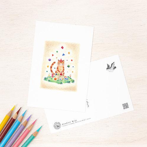 """ポストカード """"猫の子トトのおもちゃ遊び"""" PC-140"""