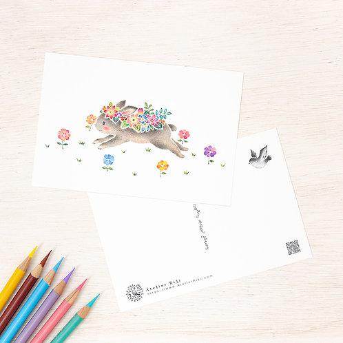 """ポストカード """"花を飾ったうさぎのミニィ"""" PC-337"""