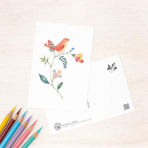 """ポストカード """"橙色の小鳥と草花"""" PC-53"""
