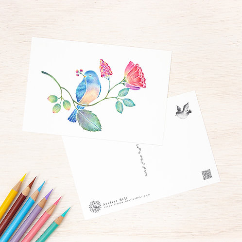 """ポストカード """"青い小鳥と草花"""" PC-512"""