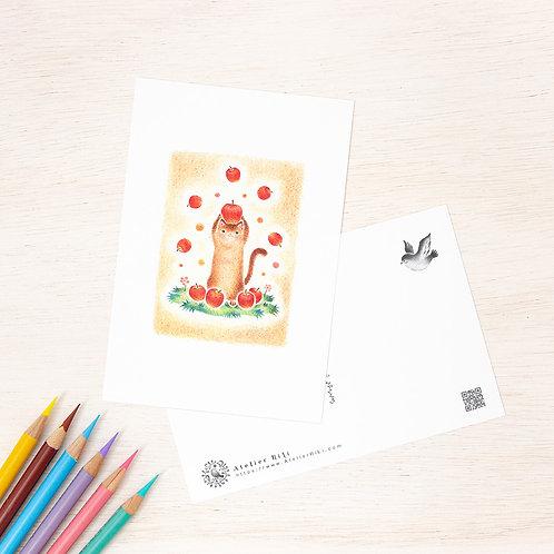 """ポストカード """"猫の子ネネのお昼ごはん"""" PC-141"""