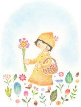 お花をつむ女の子
