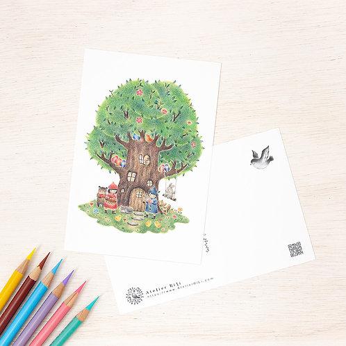 """ポストカード """"子供たちと動物たちの大きな木の家"""" PC-45"""