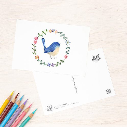 """ポストカード """"青色の小鳥と花の輪"""" PC-50"""