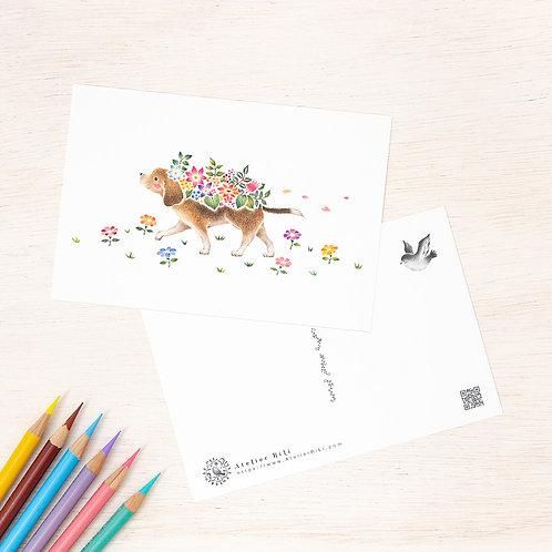 """ポストカード """"花を飾った犬のチェロ"""" PC-310"""