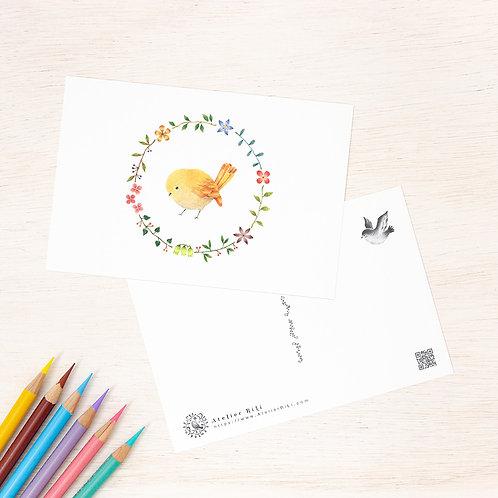 """ポストカード """"黄色の小鳥と花の輪"""" PC-59"""