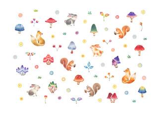 きのこの森の動物たち