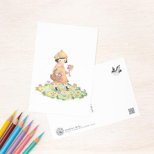 """ポストカード """"花をつんでる小人のセラ"""" PC-305"""