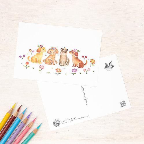"""ポストカード """"花を飾った子犬たち"""" PC-331"""