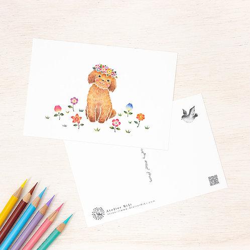 """ポストカード """"花を飾った子犬のチコ"""" PC-312"""