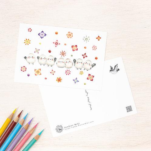 """ポストカード """"しまえながたちとお花"""" PC-255"""