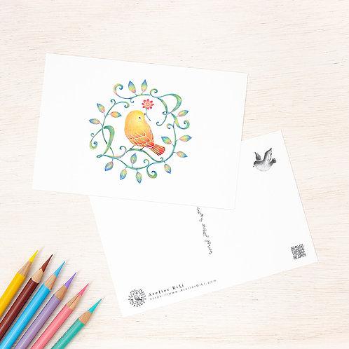 """ポストカード """"黄色い鳥と蔓 Ver. 4"""" PC-474"""