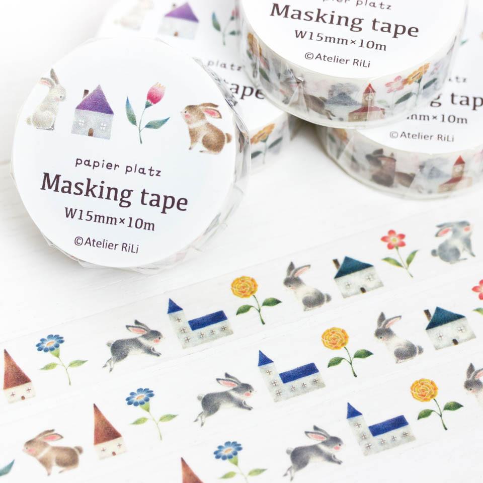 """絵本のかけら。マスキングテープ """"うさぎと色とりどりの花とお家"""" MT-2"""
