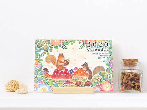 """2020年度版の卓上カレンダー """"動物たちと花々"""" ができました"""