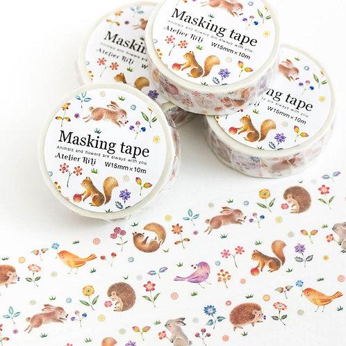 """マスキングテープ """"動物たちの幸せなひととき"""" MT-3"""