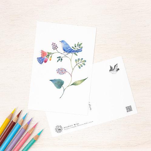 """ポストカード """"青色の小鳥と草花"""" PC-71"""