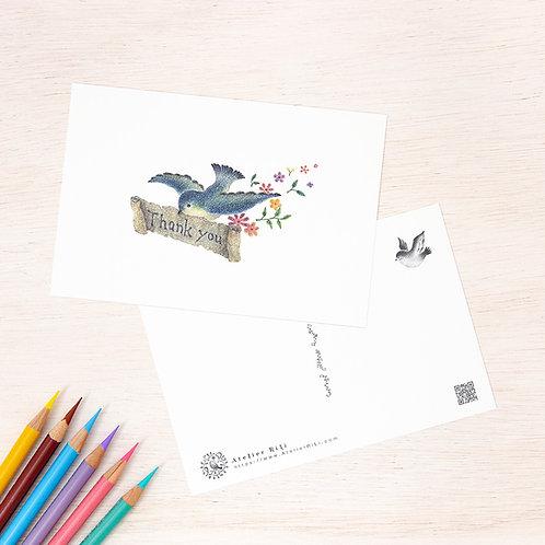 """ポストカード """"手紙を運ぶ青い鳥"""" PC-13"""