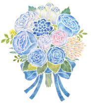 水色と青の花束