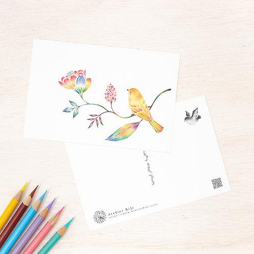 """ポストカード """"黄色の小鳥と草花"""" PC-338"""