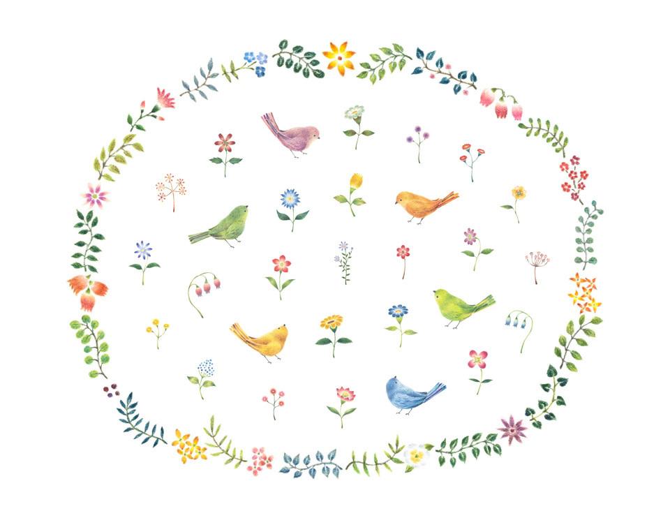 鳥と花の秘密の庭