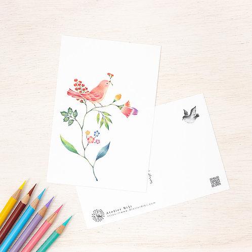 """ポストカード """"桃色の小鳥と草花"""" PC-111"""