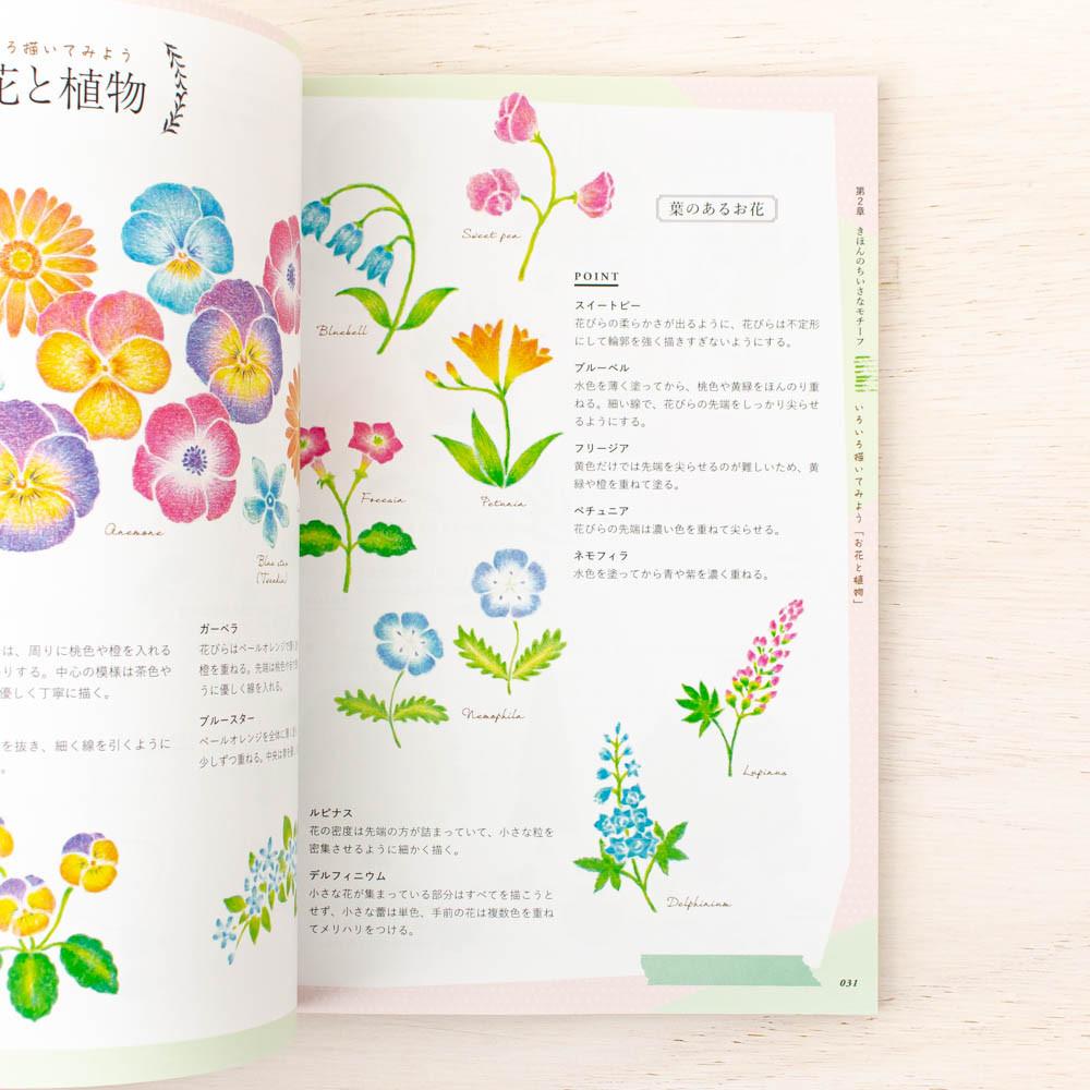12色の色鉛筆で描く ちいさなイラスト手習い帖【動画付き】: お花と街と森の動物たち
