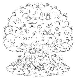 動物たちの大きな木の家 No. 2の線画
