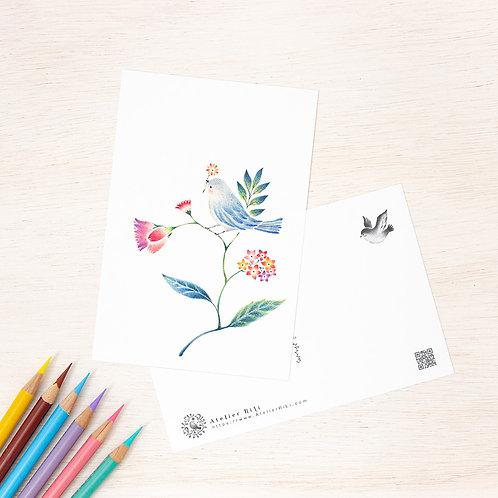 """ポストカード """"水色の小鳥と草花"""" PC-113"""