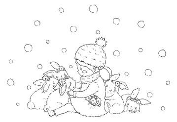 雪の日のチャチャとうさぎたちの線画