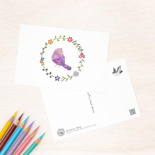 """ポストカード """"紫色の小鳥と花の輪"""" PC-58"""