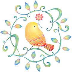 黄色い鳥と蔓 Ver. 4