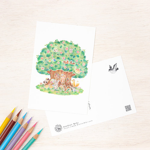 """ポストカード """"動物たちの大きな木の家"""" PC-503"""