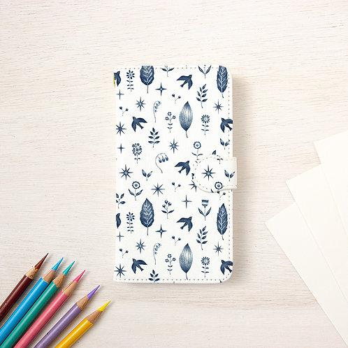 """手帳型スマホケース """"紺色の鳥と花、葉と星"""" TSC-293"""