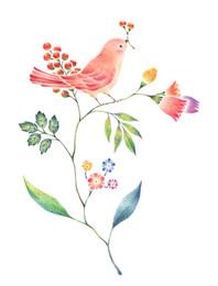 桃色の小鳥と草花