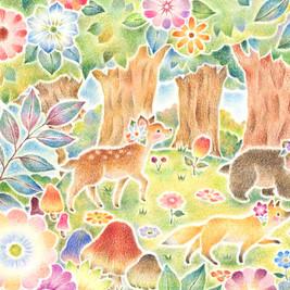 """""""みんなでおさんぽ、花咲く森で""""のアトリエ写真"""