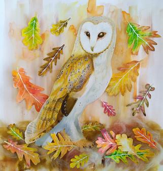 Barn owl with oak leaves mixed media