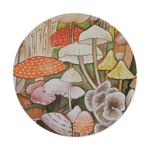 Mushroom Ink Study Round Vinyl Sticker