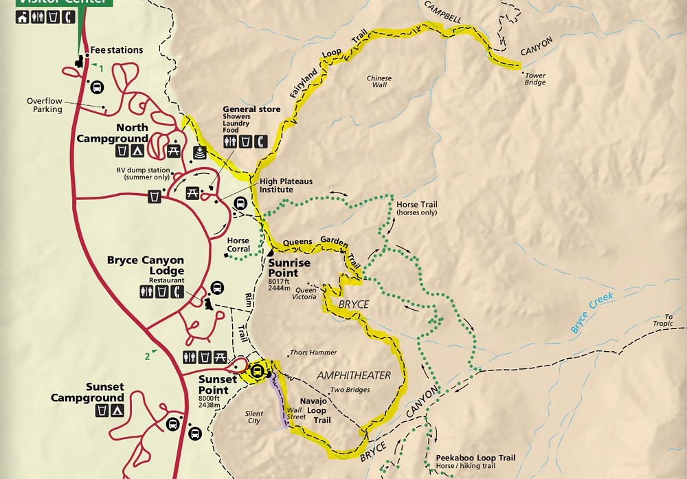 Suggested hiking trail map Bryce Canyon National Park Utah