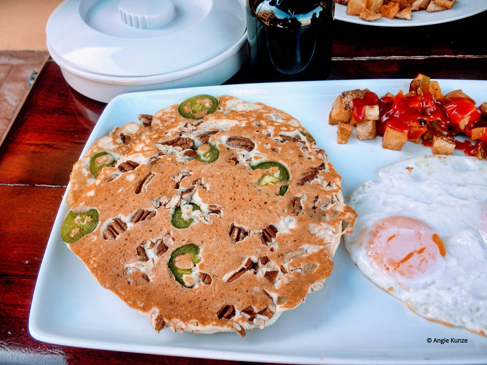 Jalapeno Pecan Pancakes from Colins Cantina in Puerto Penasco, Rocky Point, Mexico