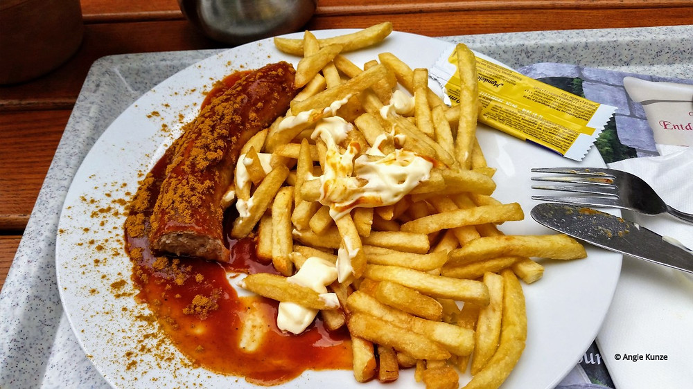 currywurst and pommes (fries) with curry ketchup and mayo (the ONLY way to eat fries!)  imbiss / restaurant berg eltz castle