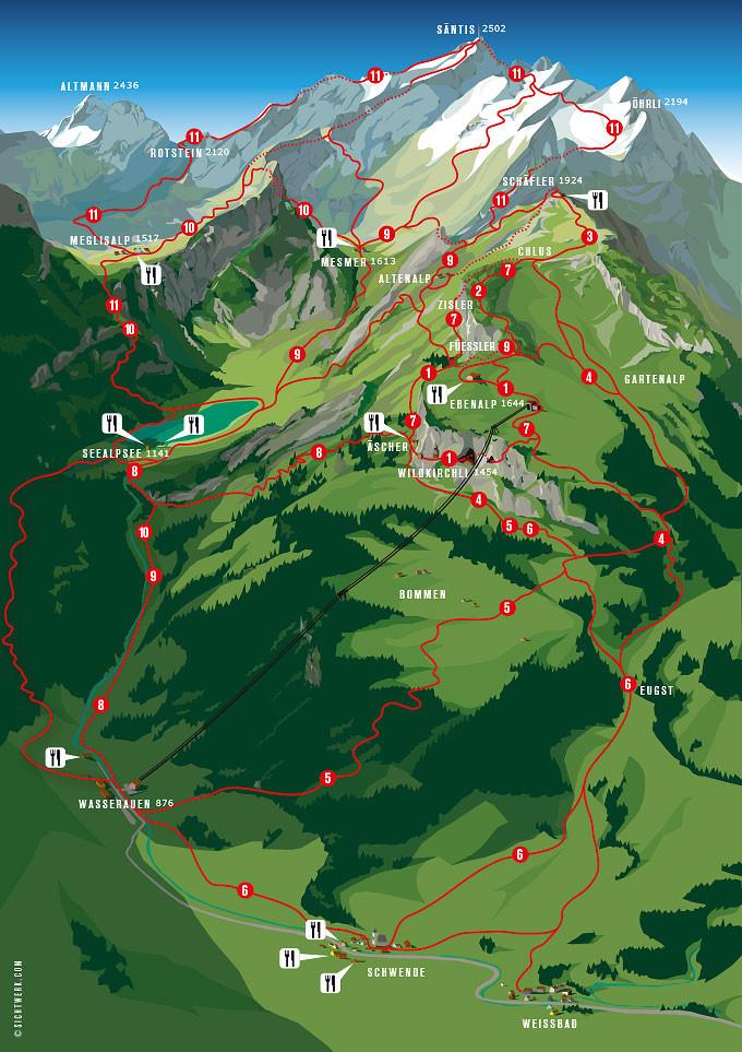 Ebenalp Mountain Hiking Map