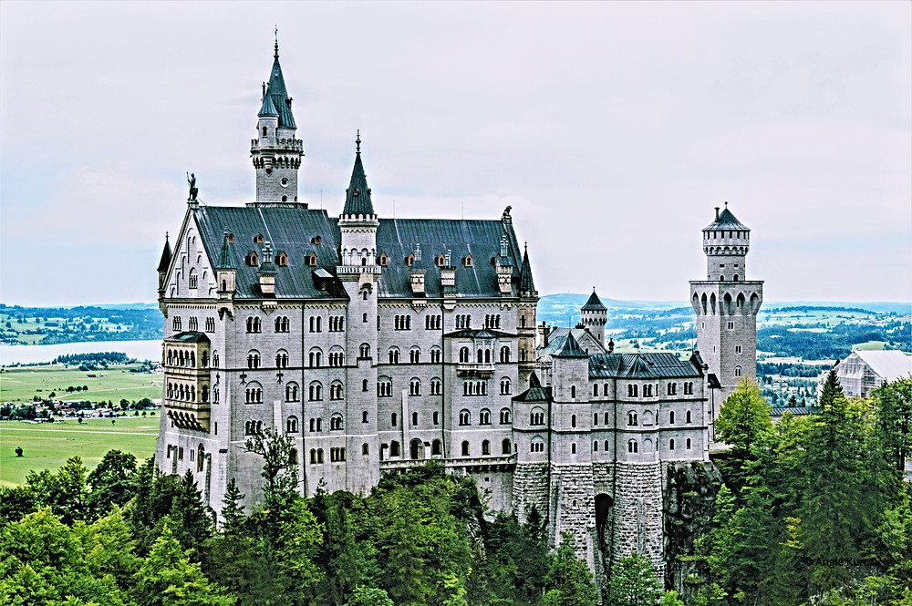Neuschwanstein Castle, as seen from Mary's Bridge, Bavaria Germany, Travel Germany, tips for visiting from Toto, we're not in Kansas anymore.