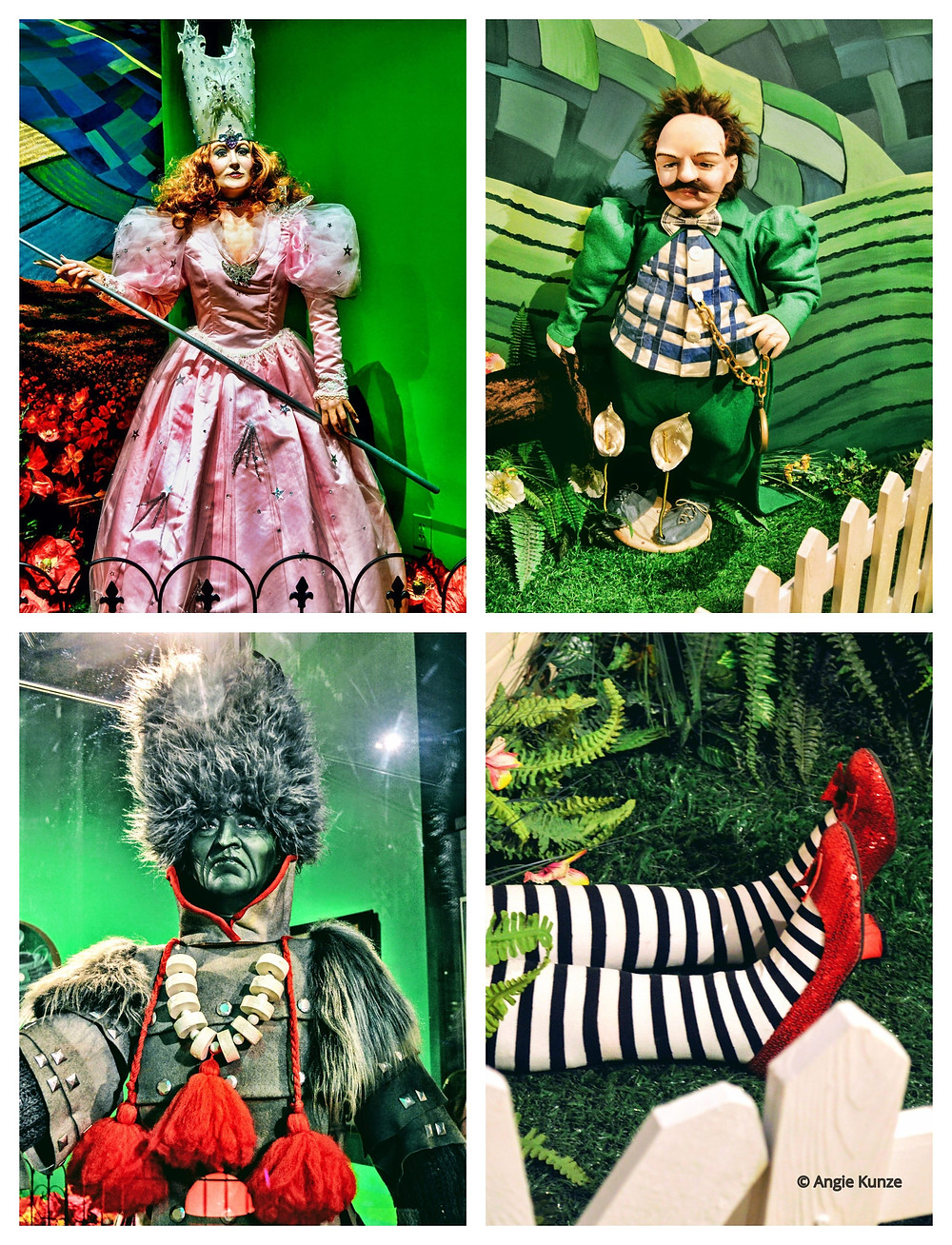 Characters from the Wizard of Oz at the Oz Museum in Wamego Kansas Glinda the Good Witch, Munchkin Mayor, Winkie Guard, What's left of the Wicked Witch of the West